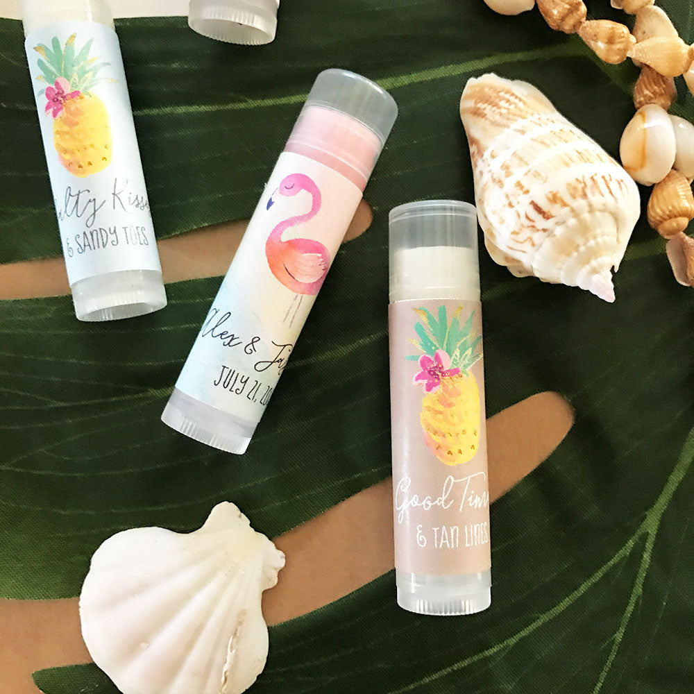 (24) PERSONALIZED TROPICAL BEACH LIP BALM TUBES