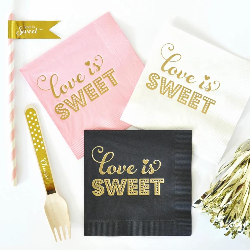 METALLIC GOLD LOVE IS SWEET NAPKINS (SET OF 25)