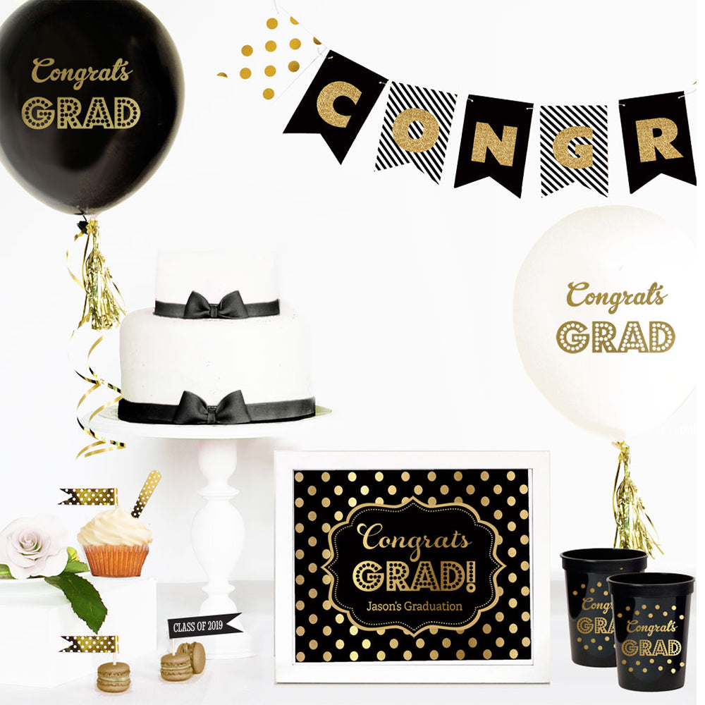GOLD GRADUATION BALLOONS (SET OF 3)