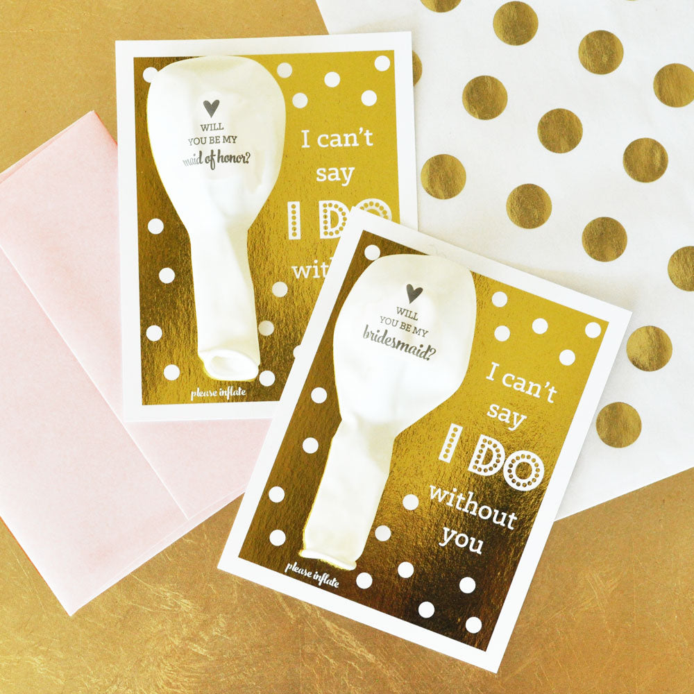 BRIDESMAID & MAID OF HONOR BALLOON CARD KIT (SET OF 4)