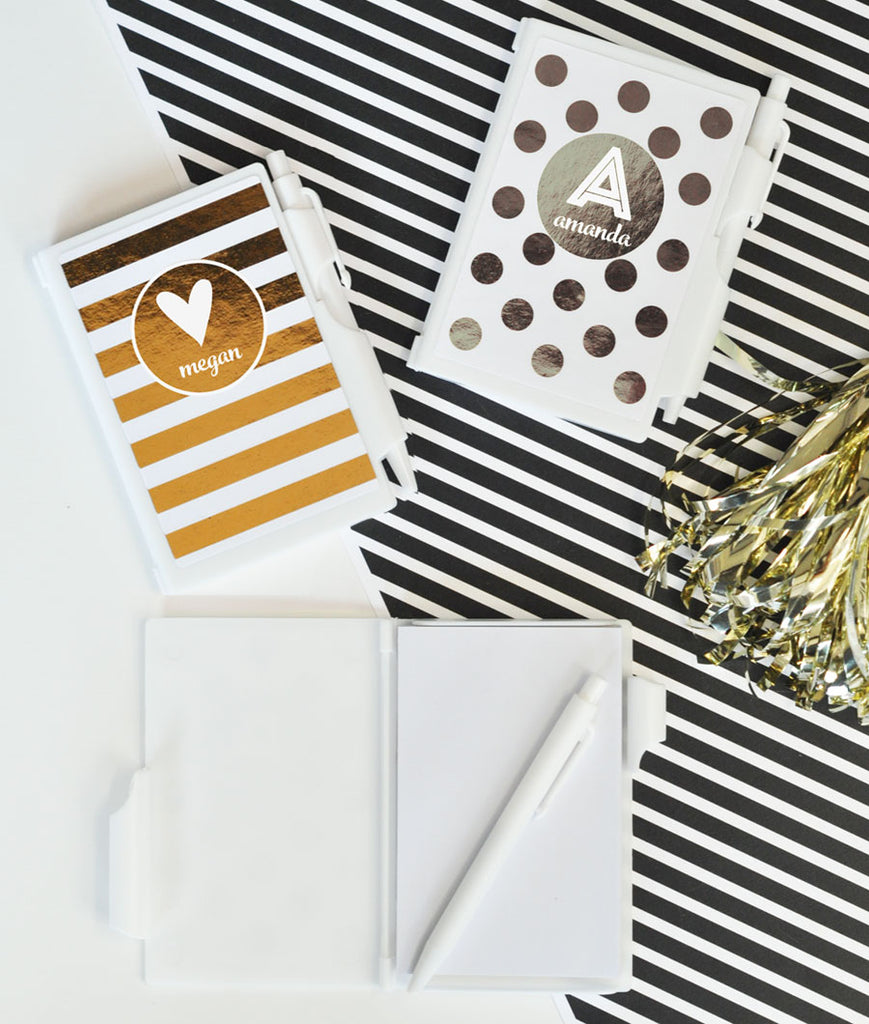 WHITE & GOLD MONOGRAM NOTEBOOKS (SET of 8)