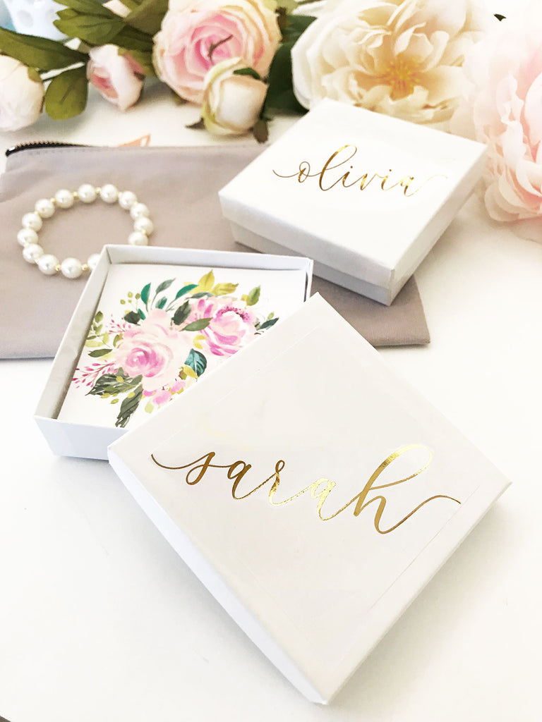 PERSONALIZED JEWELRY GIFT BOXES - SET OF 4