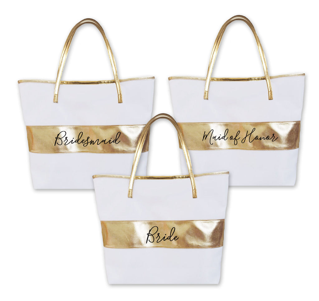 BRIDAL PARTY GOLD STRIPED TOTE