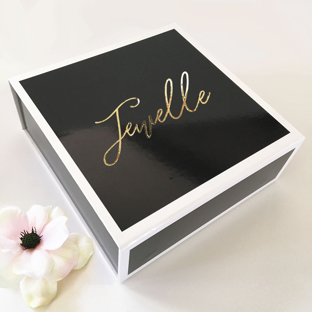 BLACK GIFT BOXES GOLD TEXT