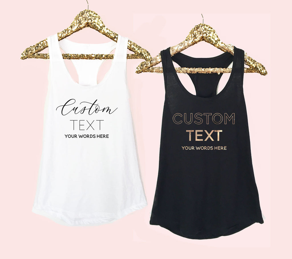 CUSTOM TEXT TANK TOPS