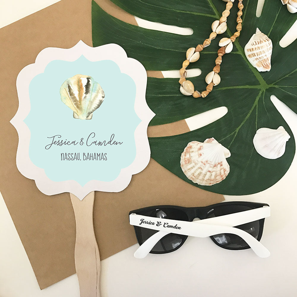 PERSONALIZED TROPICAL BEACH PADDLE FANS