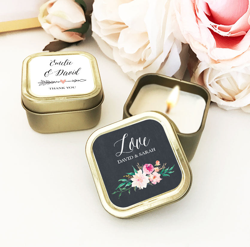 24 PACK PERSONALIZED FLORAL GOLD SQUARE CANDLE TINS