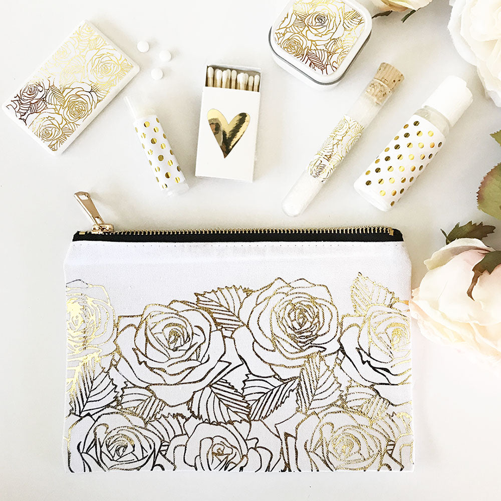 ROSE GARDEN COSMETIC BAG - GOLD FOIL
