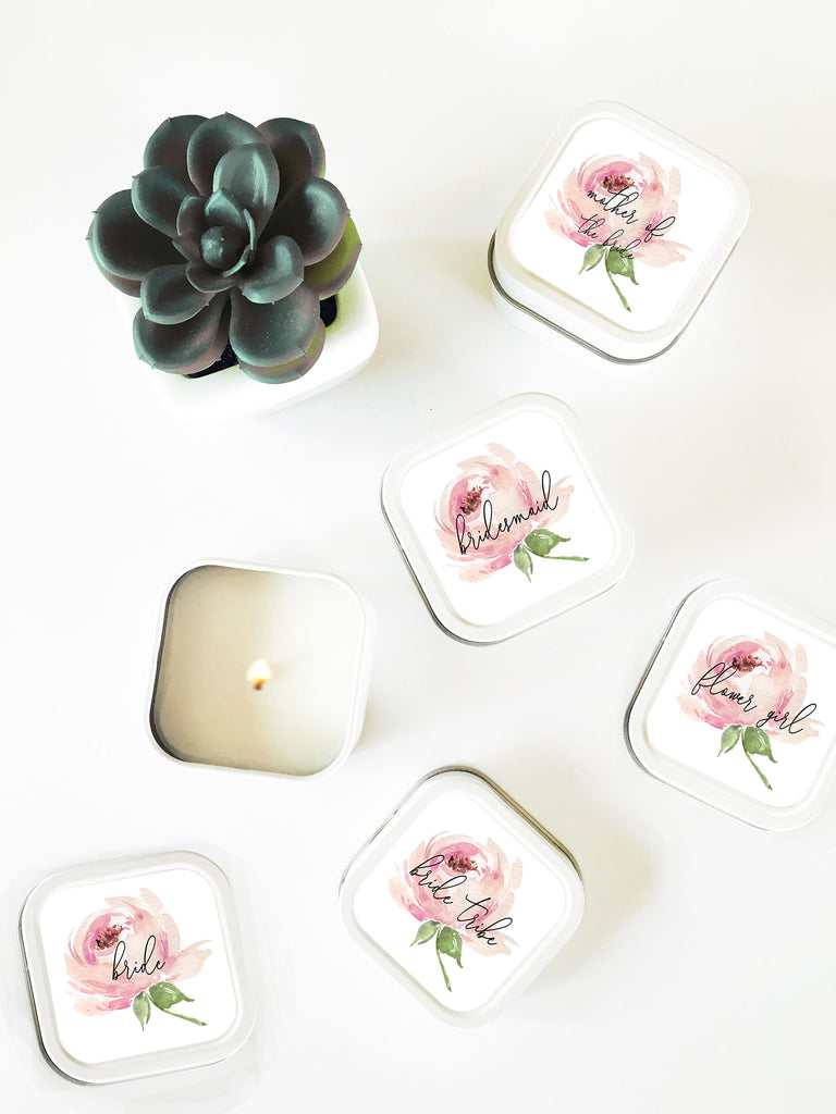 BRIDAL PARTY CANDLES (SET OF 12) - SPRING ROSE