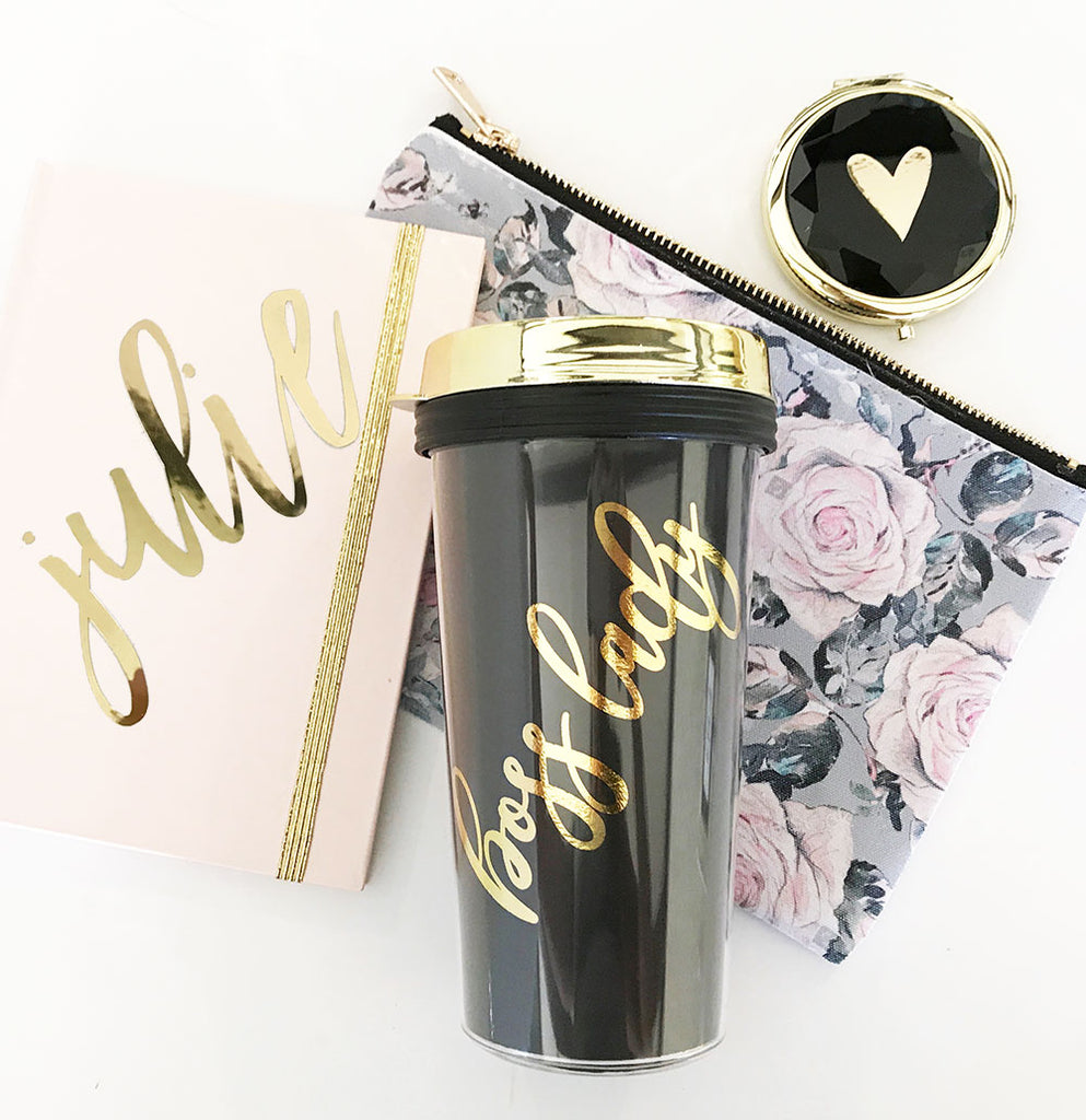 PERSONALIZED TRAVEL TUMBLERS - GOLD LID