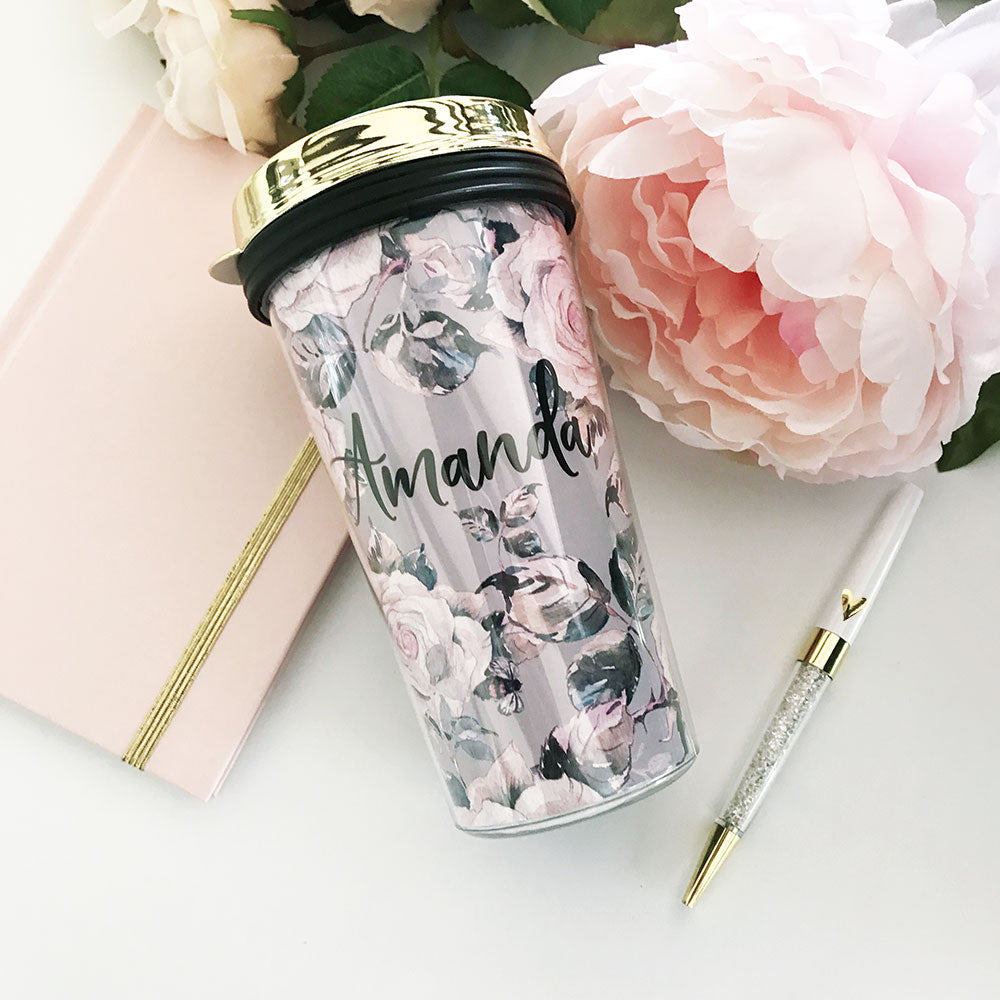 ROSE GARDEN COFFEE TRAVEL TUMBLERS - GOLD LID
