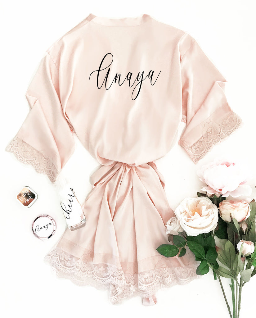 PERSONALIZED SATIN LACE ROBES