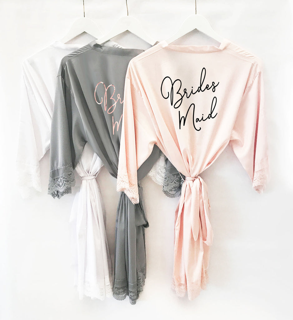 BRIDAL PARTY SATIN LACE ROBE