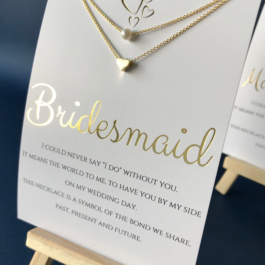 LAYERED BRIDESMAID NECKLACE WITH CARD