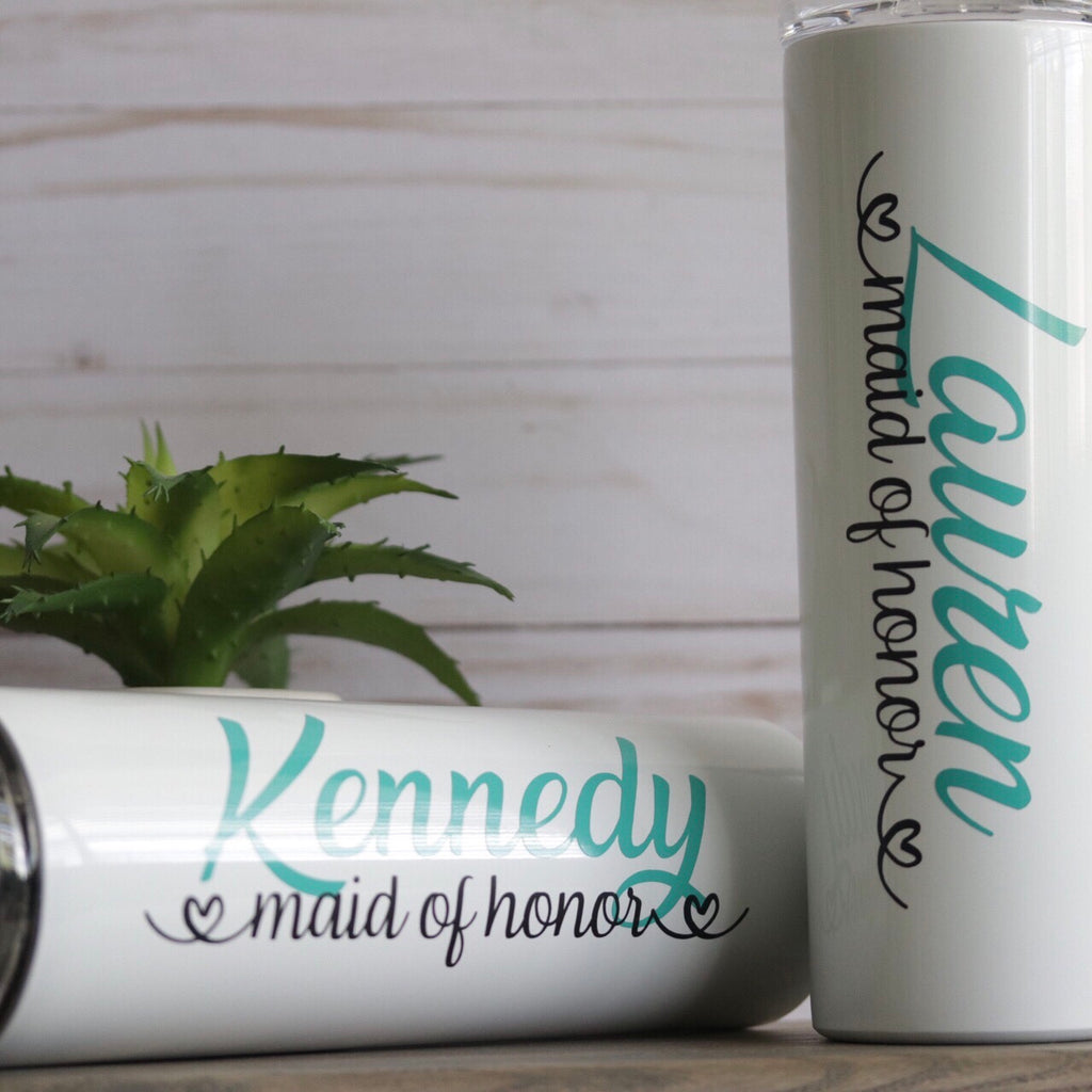 PERSONALIZED SKINNY STAINLESS STEEL TUMBLER - BRIDAL PARTY GIFT