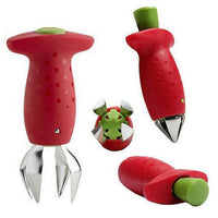 Red Strawberry Huller Strawberry Top Leaf Remover Gadget Tomato Stalks Fruit Knife Stem Remover Tool Portable Cool Kitchen Gadget Coolstuffsales.com -6