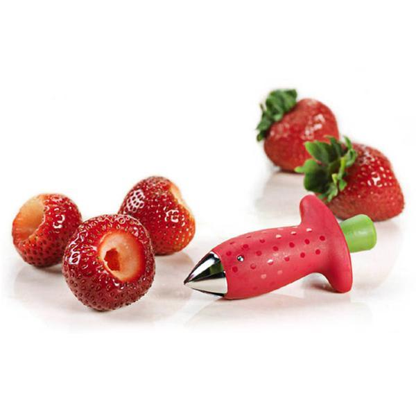 Red Strawberry Huller Strawberry Top Leaf Remover Gadget Tomato Stalks Fruit Knife Stem Remover Tool Portable Cool Kitchen Gadget Coolstuffsales.com -2