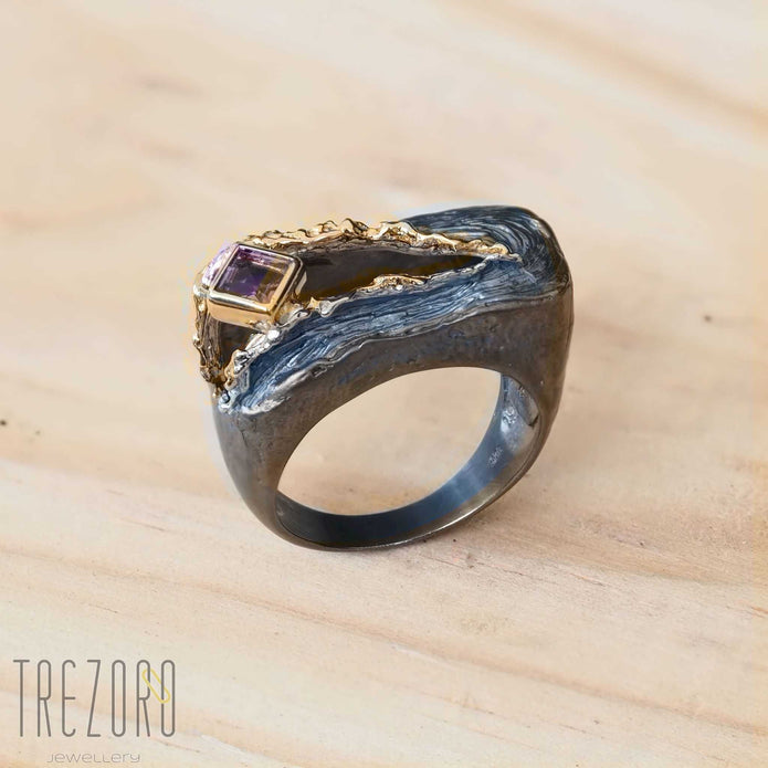 NEW amazing Surprise Ring. Oxidised and  Gold Plated Sterling Silver wih natural Amethyst. On wood.