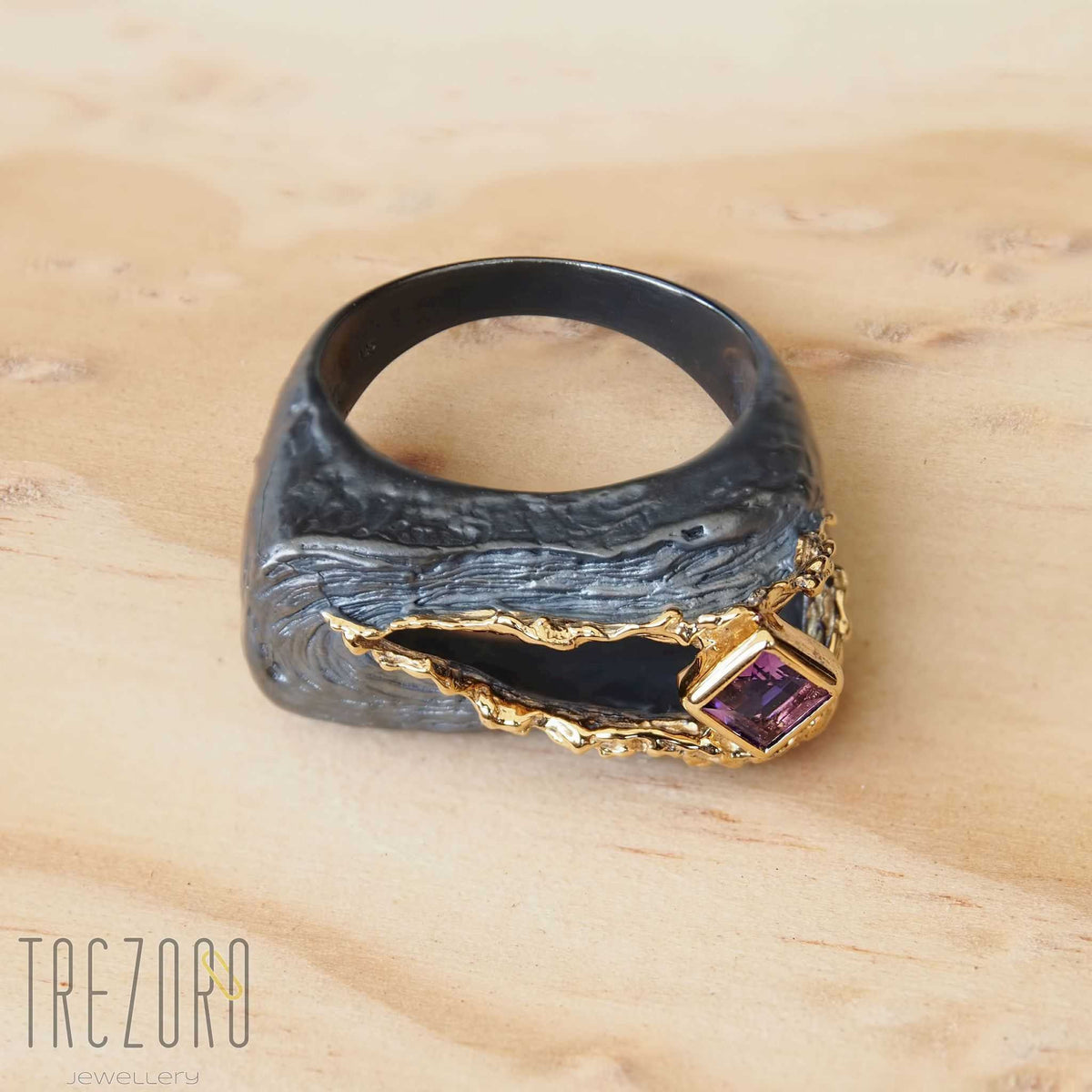 NEW amazing Surprise Ring. Oxidised and  Gold Plated Sterling Silver wih natural Amethyst. On wood 2.