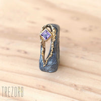 NEW amazing Surprise Ring. Oxidised and  Gold Plated Sterling Silver wih natural Amethyst. On wood 3.