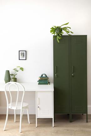 skinny locker in olive colour in office