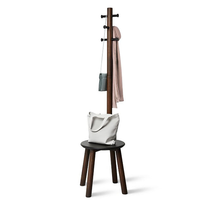 Umbra Pillar Stool Coat Rack - walnut
