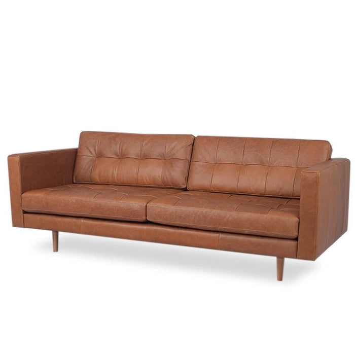 Hamptons Leather 3 Seat Sofa - Saddle