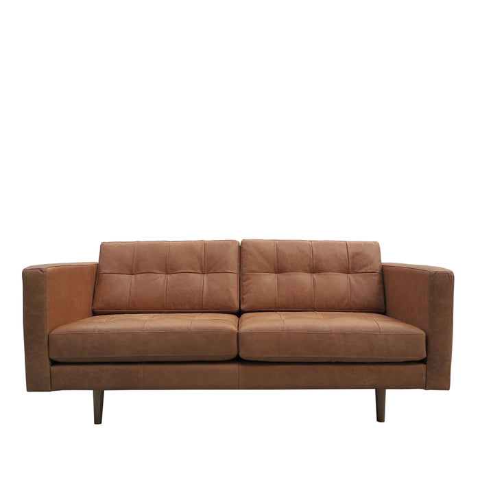 Hamptons 2 Seat Sofa Tan - Leather, front