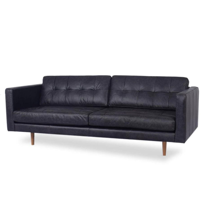 Hamptons Leather 3 Seat Sofa - Black