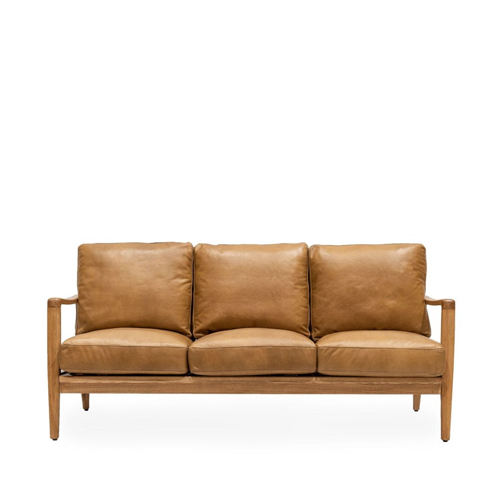 Yukon Leather 3 Seat Sofa tan leather