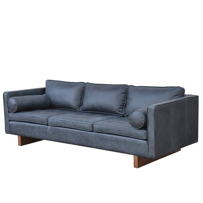 Mars Leather 3 Seat Sofa - Black