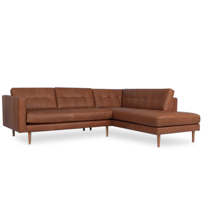 Hamptons Leather 3 Seat Sofa + Corner Chaise - Saddle