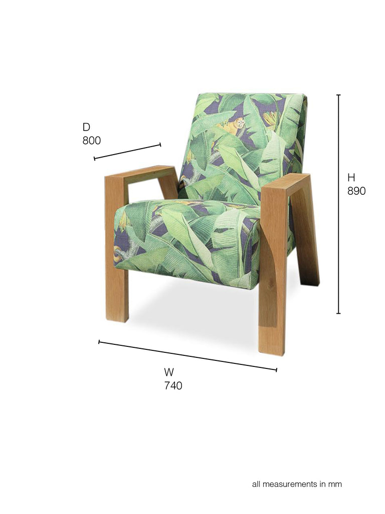 Mogambo Armchair in a tropical print with oak arms dimensions