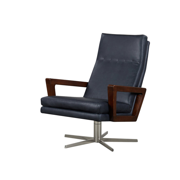 Felix Swivel Leather Armchair - Charme Black