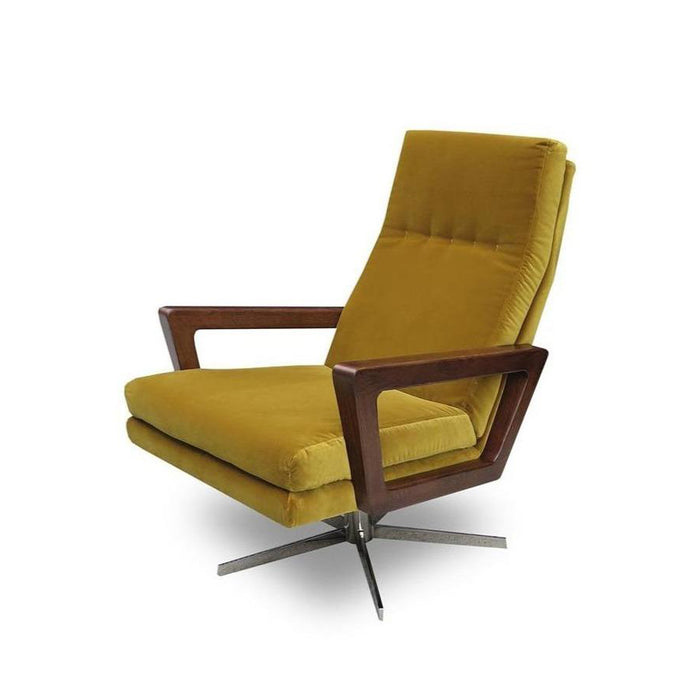 Felix Swivel Armchair - Gold Cotton Velvet