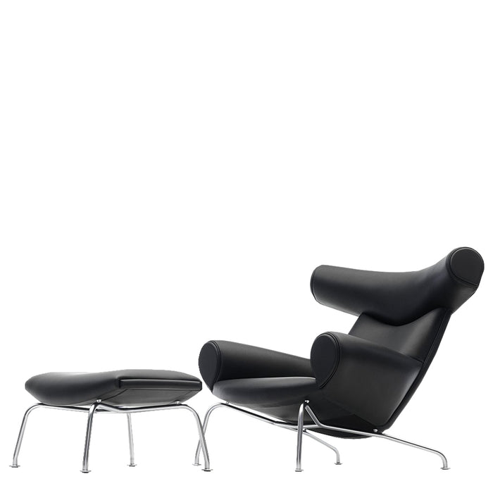 Wegner Armchair + Stool - Black Leather