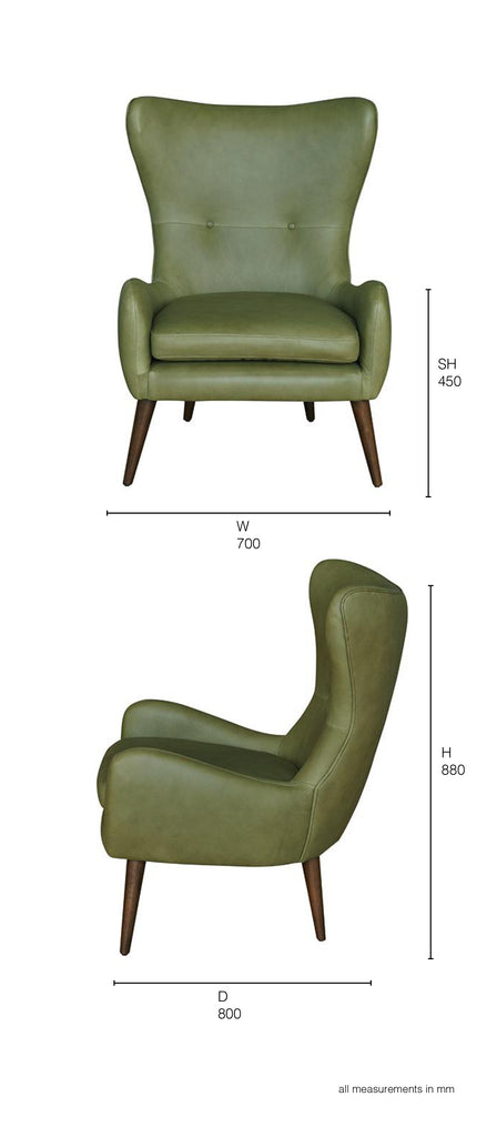 olive leather armchair