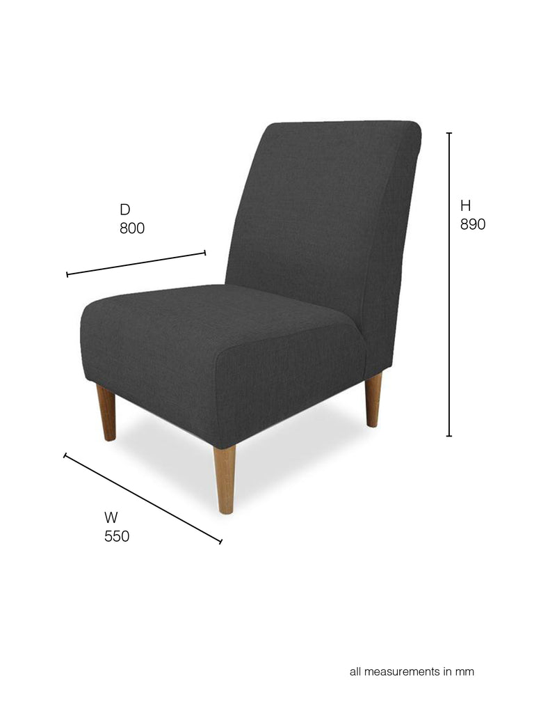 Marseille Armchair in black fabric dimensions