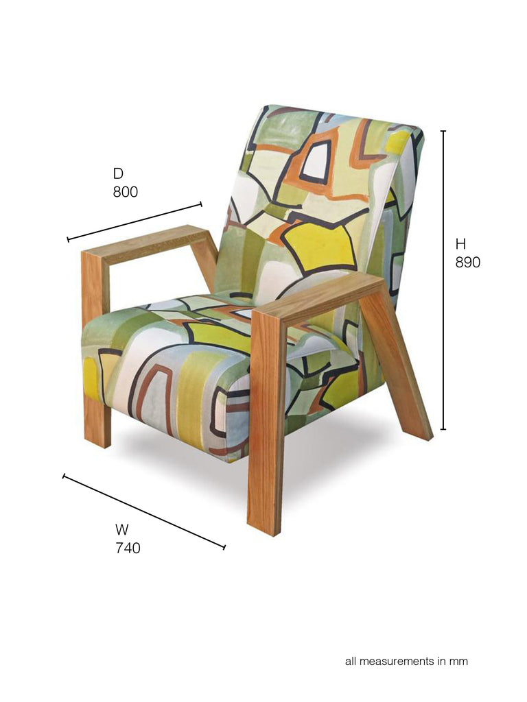 Mogambo Armchair in abstract print with oak arms dimensions