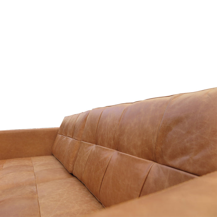 Hamptons 2 Seat Sofa Tan - Leather, leather close up