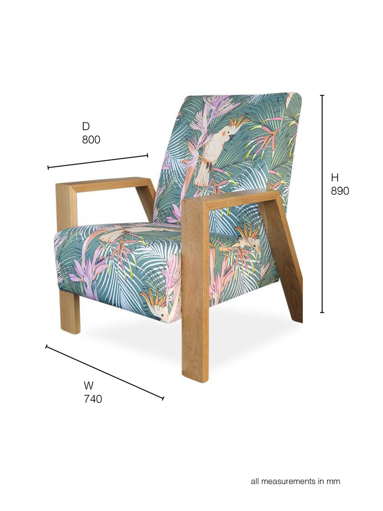 Mogambo Armchair in pastel tropical print dimensions