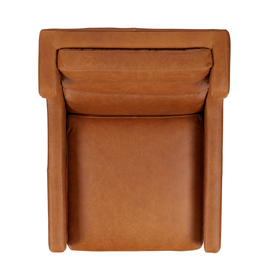 Batman Armchair - Tan Leather - birds-eye view