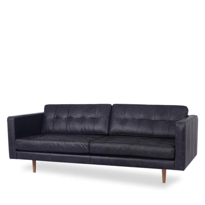 Hamptons 2 Seat Sofa - Black Leather