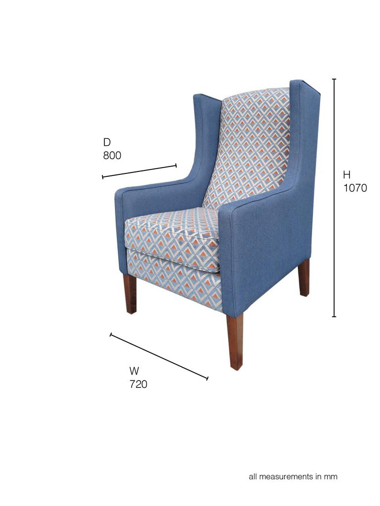 Partridge Armchair grey blue and geometric fabric dimensions