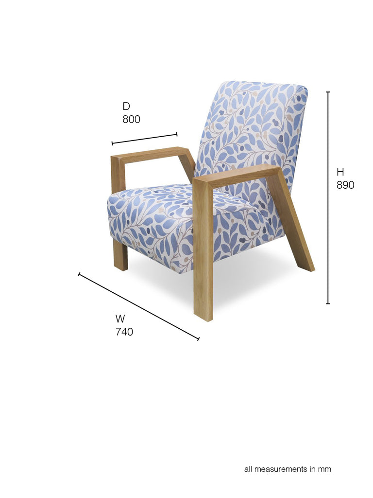 Mogambo Armchair baby blue pattern dimensions