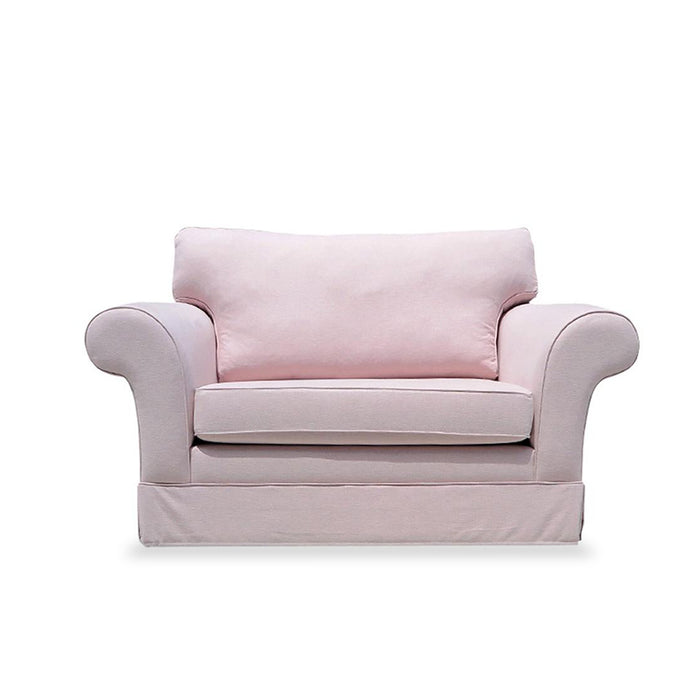 Candy 1.5 seater in pale pink fabric