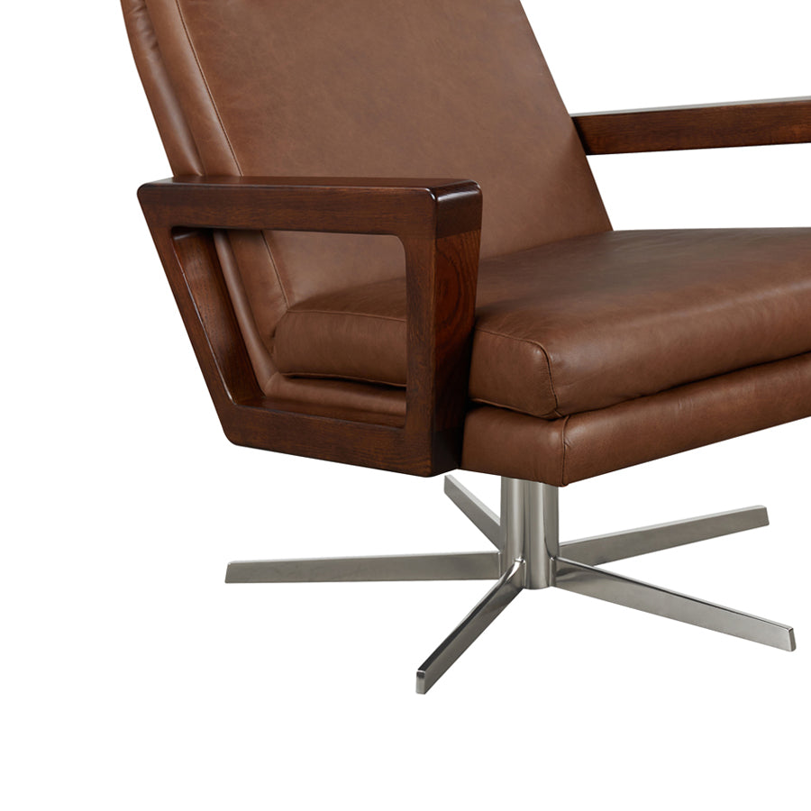 Felix Swivel Leather Armchair - Mocha