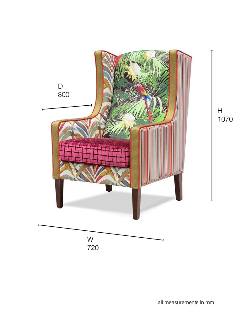 Partridge Armchair in multi fabric dimensions