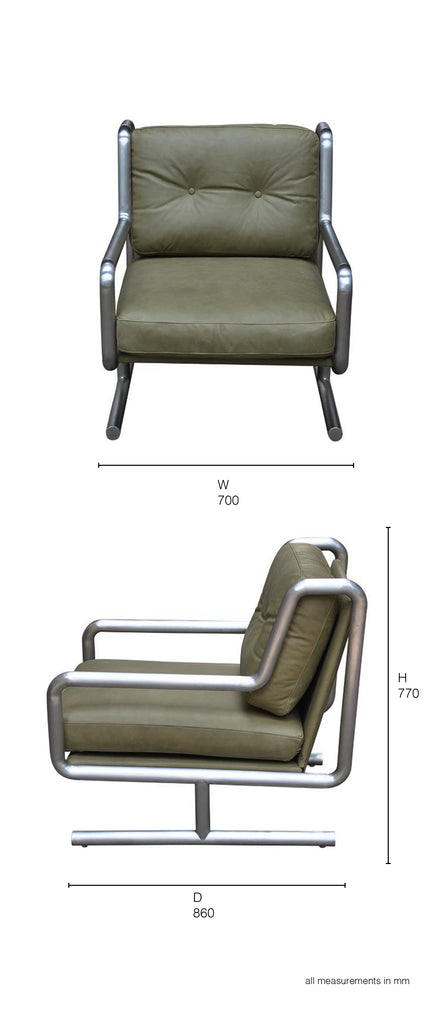 metal and leather armchair