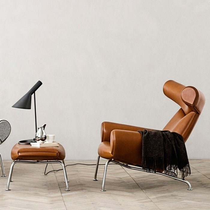 Wegner Armchair + Stool - Tan Leather